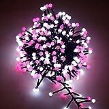 ボール文字列ライト、Firecracker文字列LEDグローブライト9.8?Ft 400?LED耐久性防水装飾ライトwithプラグforインドア/アウトドア/ベッドルーム/カーテン/パティオ/クリスマス/パーティー/ウェディング(Warmホワイト/ピンク) ピンク 6456854833167
