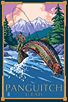panquitch、ユタ州 – Fly Fisherman With Trout Fish Jumping 24 x 36 Giclee Print LANT-76108-24x36