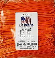 """8""""ケーブルタイ。プレミアムナイロンワイヤ管理zip-ties。いくつかの色で使用可能な1, 000ピースパックまたはバルク卸売ケース数量。50lb引張。USA Strongケーブルタイ 8"""" 1000 Pack オレンジ"""