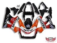 VITCIK (フェアリングキット 対応車種 ホンダ Honda CBR900RR 929 2000 2001 CBR900 RR 929 00 01) プラスチックABS射出成型 完全なオートバイ車体 アフターマーケット車体フレーム 外装パーツセット(ブラック & オレンジ色) A034