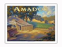 アマドー・ワイナリー - エル・ドラド郡 - シエラ・フットヒルズAVAブドウ園 - カリフォルニアワインカントリーアート によって作成された カーン・エリクソン - アートポスター - 51cm x 66cm