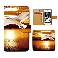 (ティアラ) Tiara AQUOS Xx-Y 404SHY スマホケース 手帳型 ポスター 手帳ケース カバー PHOTO 夕焼け カモメ 海 鳥 F0181020087901