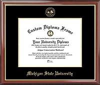 Michigan State University Spartans–エンボスシール–マホガニーゴールドトリム–卒業証書フレーム ゴールド