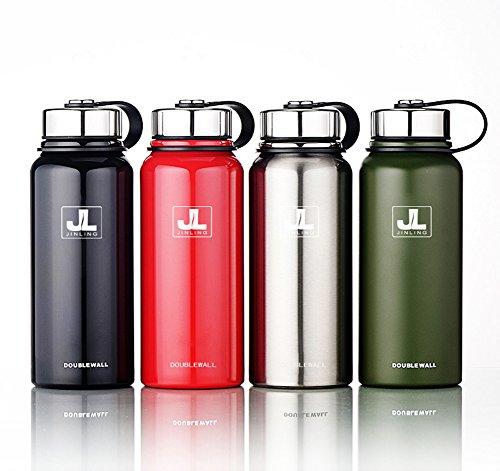 スポーツボトル 真空断熱 保温 ステンレス鋼304 魔法瓶 直飲み 0.6/0.8/1.1/1.5リットル (グリーン, 800ml)