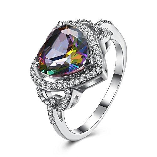 [해외]BEMI 낭만적 인 여성 화이트 골드 화려한 하트 지르콘 문 참여 칵테일 파티 약속 반지/BEMI romantic lady`s white gold colorful heart zircon statement engagement cocktail party promise ring