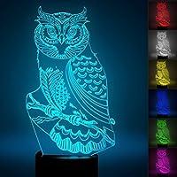 3dフクロウLED夜間ライトタッチテーブルデスクOptical Illusionランプ7色変更ライトホーム装飾クリスマス誕生日ギフト