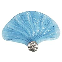 """快適な時間15""""装飾Conch形状セクタガラスプレート、食器洗い機、ブルーとシルバー"""
