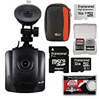 Transcend DrivePro 130 1080p HD Wi - Fi車ダッシュボードビデオレコーダーwith Suction Cup + 16 GB & 32 GBカード+ケース+キット
