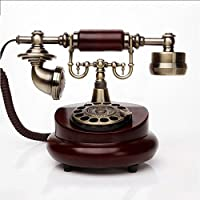 HY 金属と木製回転ダイヤルアンティーク電話ヴィンテージ布ロープヨーロッパのリビングルームベッドルームレトロ固定電話機の着信音