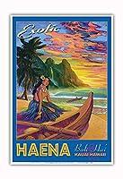 エキゾチックなハエナビーチ - カウアイハワイ - バリハイ、マカナ山 - ビンテージなハワイの旅行のポスター によって作成された リック・シャープ - アートポスター - 33cm x 48cm