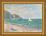 ( v15–09–10) Claude _モネ_ Sailboats _ near _ The _ Sea _ coast _ at _ Pourville _フレーム_キャンバス_ Giclee _プリント_ w30_ X _ h22 +[Large] #01-Gold V15-10A-MD101-04