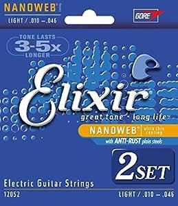 Elixir エリクサー エレキギター弦 NANOWEB Light .010-.046 #12052 2個セット 【国内正規品】