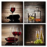 Wall Art Canvas Prints Posters 4 Panel Wine Glass Bottle Set Paintings Picture for Bar Dining Room Kitchen Room Decor
