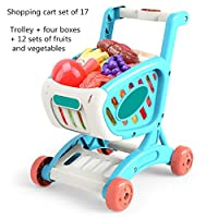 手押し車・プルトイ 子供のシミュレーションショッピングカート果物や野菜のカットカトラースーパーマーケットカートプレイハウス玩具 子供用ショッピングカートのおもちゃ (色 : Blue 12 pieces, Size : 20.5x24.5x30.5CM)