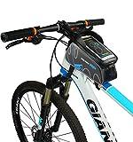 自転車 トップチューブバッグ,Qshiba 自転車 PU サドルバッグ 6.0 インチ 自転車 フロントバッグ すまほスタンド スマホホルダー バッグ サイクリングフレームバッグ 自転車 バイク フレーム バック 収納可能 ナビ 防水 自転車 スタンド 5.5インチ サドルバッグフロントバッグ 自転車 すまほスタンド iPhone 7 6/6S/Plus Xperia 対応 携帯ホルダー バイク収納アクセサリー