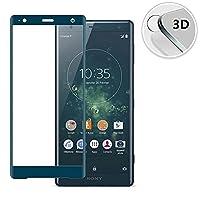 (ミーモール)Miimall Sony Xperia XZ2 SO-03K ガラスフィルム 3D 炭素繊維 硬度9H 全面ガラス エクスペリア XZ2 SO-03K SOV37 保護 フィルム (ブルー)