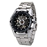 WINNER 機械式腕時計 自動巻き メンズウォッチ スケルトンタイプ おしゃれメンズ腕時計 シルバー ホワイトデーのプレゼント