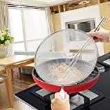 オイルスクリーン 油はねガード 18-8ステンレス キッチンネット 29cm 油はね防止 水切り 多機能 細目 画像