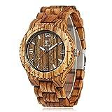 CucolメンズZebra Wood WatchアナログクォーツMinimalismハンドメイド木製腕時計withギフトボックス