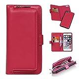 iPhone6 Plus ケース 財布型 iPhone6s Plus ケース 手帳型 easyBee 高級PUレザーケース おしゃれ カード入れ 小銭入れ 多機能 マグネット式 分離可能 多機能 大容量  アイフォン6 プラス 全面保護カバー (ローズ)