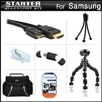 """スターターアクセサリーキットfor the Samsung nx200nx210nx1000デジタルカメラはデラックス、携帯ケース+ 7""""柔軟な三脚+ Mini HDMIケーブル+ USB High Speed 2.0SDカードリーダー+ LCDスクリーンプロテクター+ミニ卓上三脚+マイクロファイバークリーニングクロス"""