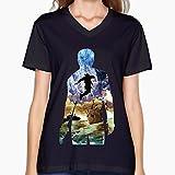 ECIALNI 女 VネックTシャツ 冒険 ヒーロー 勇者のゲーム Tシャツ シンプルなデザイン レディース Black