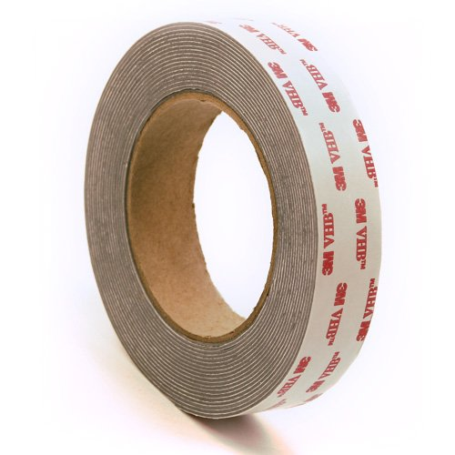 3M 4941 Very High Bond Conformable Acrylic Foam Tape, Double-Sided VHB Acrylic Adhesive, Liner, 45 mil Thick, Dark Grey, 1 Width, 5 Yard Roll by CS Hyde