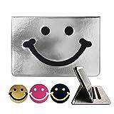 Super'Z 新型iPadケース スマートカバー アイパッドケース タブレットカバー プロ9.7 iPad Pro 9.7 9.7インチ 2016年発売 オートスリープ機能 スタンド付き ダイアリー 手帳型 ブックデザイン 刺繍 ししゅう スマイル 笑顔 smile ニコちゃん マーク ニコニコ マルチ フェイクレザー キャラクター 耐衝撃 かわいい おしゃれ ビジュアル (モデル番号:A1673,A1675) シルバー