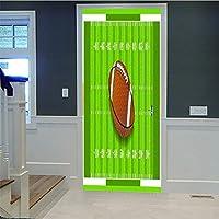 3dドアステッカー寝室のドア防水デカールサッカーdiy壁画用リビング寝室オフィスウォールステッカー寝室の家ホームウィンドウアートの装飾77×200センチ