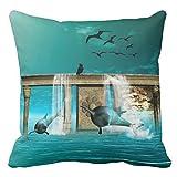 幻想の世界のすばらしい遊ぶイルカ背当て抱き枕 ピローケース 綿製 クッションカバー 45x45cm