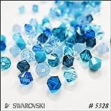 スワロフスキー ビーズ #5328(ソロバン型)【サイズ別カラーMIX】 4mm(30粒入) ブルー系