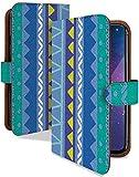 HUAWEI nova2 HWV31 ケース 手帳型 ネイティブ ミックス ブルー ネイティブ お洒落 スマホケース ファーウェイ ノバ2 手帳 カバー HUAWEInova2 hwv 31 nova2ケース nova2カバー トライバル柄 オルテガ柄 [ネイティブ ミックス ブルー/t0684b]
