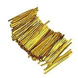 ノーブランド品 約1600本 キャンディバッグ ロリポップ用 金属製 ツイストタイ ソフトタイ ツイストネクタイ 8cm 2色選べる - ゴールド