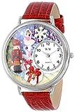 クリスマス くるみ割り人形 赤レザー シルバーフレーム 時計 #U1220010