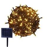 RPGT ソーラーLEDイルミネーションライト53m 500LED ソーラーライトストリング USB充電 防水 8ライトモード ソーラー充電式 クリスマスガーデン装飾ライトストリング 屋外、クリスマスツリー、ガーデン、パス、ウェディングパーティデコレーション(暖かい光)
