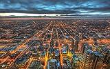 絵画風 壁紙ポスター (はがせるシール式) 夕暮れのシカゴ 広域夜景 都市景観 イリノイ州 五大湖 アメリカ キャラクロ CCG-004W1 (ワイド版 921mm×576mm) 建築用壁紙+耐候性塗料