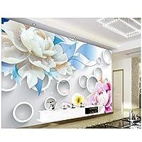 Mrlwy 壁紙立体牡丹ja立体TV背景壁紙リビングルームベッドルーム写真壁紙-400X280cm