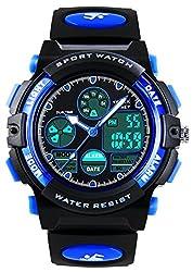 子供用腕時計 防水アナログ目覚まし時計 アラーム付きデジタル表示クォーツ腕時計 人気のアウトドアボーイズ防水腕時計 女の子男の子スポーツデジタルウォッチ ZAYIYA