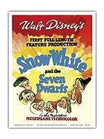 ウォルト・ディズニー 白雪姫と7人の小人 - 初の長編映画制作 - ビンテージなフィルム映画のポスター c.1937 - アートポスター - 23cm x 31cm