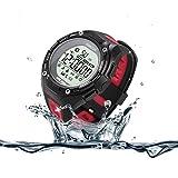 デジタル 防水 腕時計 「TURNMEON」Bluetooth スマートウォッチ メンズ レディース スポーツ用 (赤)