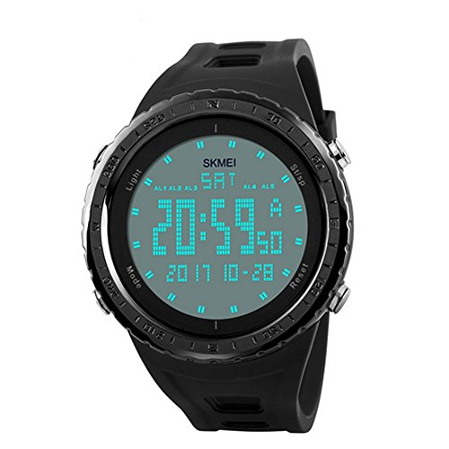 Timever(タイムエバー)デジタル腕時計 メンズ 防水腕時計 led watch スポーツウォッチ ストップウォッチ ダブルタイムなどの機能 5ATM防水 大文字盤 日本語取扱説明書付き(ブラック)