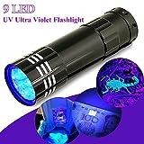 GGG 紫外線ランプ  9LED ミニ アルミ UV ウルトラ バイオレット ペントーチ 懐中電灯 フラッシュ ライト  ブラック ライト  AAA ランプ