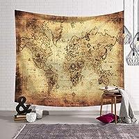 世界地図タペストリー壁掛けヴィンテージの水彩色のタペストリー寝室の寮の装飾 DWWSP (Color : D, Size : 150x130)