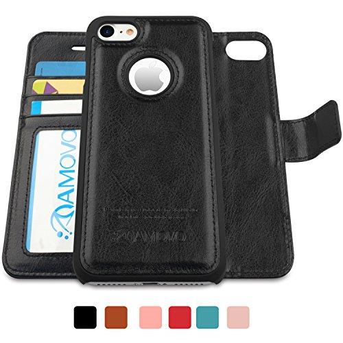 AMOVO iPhone 7 ケース 手帳型 アイフォン7 ケース カード収納 スタンド機能 脱着式 分離可能 iPhone 7 手帳ケース (iPhone 7, ブラック)