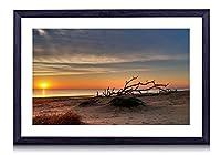 サンセットビーチのすてきな砂浜 - #39959 - 黒の実木枠 壁掛け モダン インテリア アート 風景画 装飾 壁飾り 部屋の装飾 写真 ポスターー - 60cmx40cm