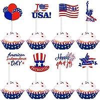独立記念日ケーキトッパーアメリカの国民日の旗パターンカップケーキトッパー7月4日ケーキデコレーション愛国パーティー用品72個