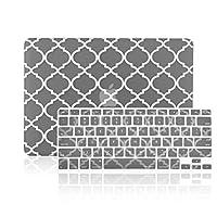 """TopCase 2in 1–Quatrefoil /モロッコTrellisウルトラスリム軽量ゴム引きハードケースカバーと一致する色Quatrefoil /モロッコTrellisキーボードカバーApple MacBook Pro 13.3"""" with Retina Displayモデル: a1425とa1502(最新バージョン2013) Macbook Pro 13"""" with Retina RET13P-QF-GY-2-IN-1"""