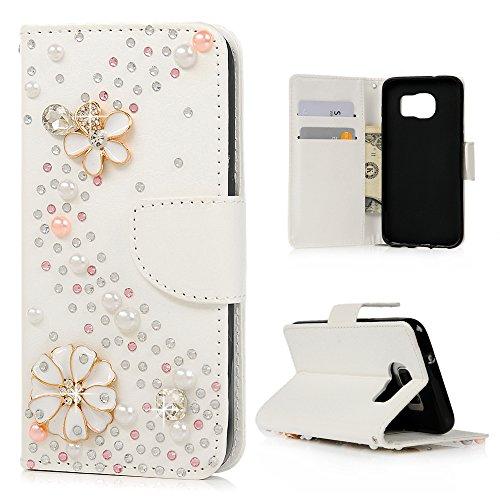 Samsung Galaxy S7 edge ケース Mavis's Diary 横置き 耐久性 保護ケース 吸着の機能 スタンド 手帳型 PUレザー素材 花びら