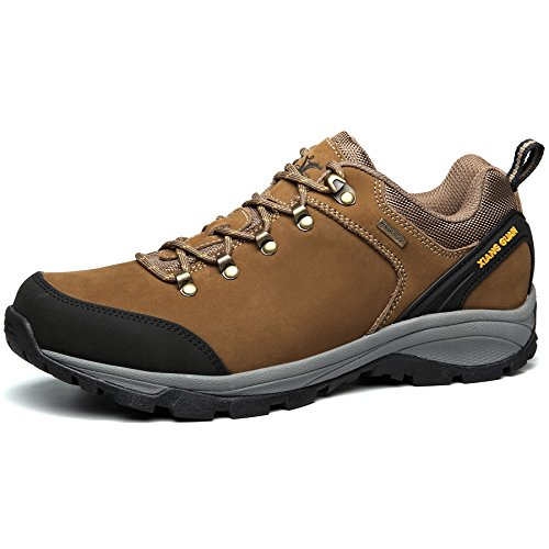 XIANGGUAN トレッキングシューズ メンズ ハイキングシューズ 登山靴 牛革 防滑 ブラウン 24.5CM 96567