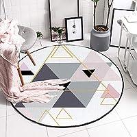 カーペット 円形、トレンディなミニマリストの幾何学模様ベッドルームのリビングルーム柔らかくて快適なクリスタルビロードの装飾的なラグマット - 滑り止め,A,60cm(23.6inch)